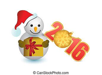 2016, schneemann, und, weihnachtszierde