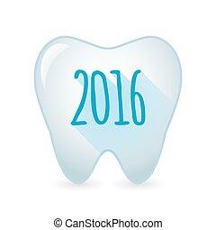 2016, segno, icona, dente