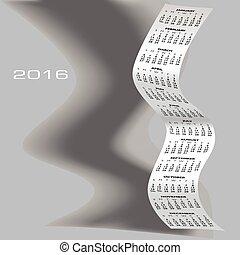 2016, skygge, kalender, bølgede