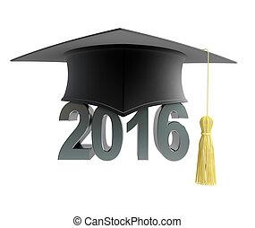 2016, testo, con, graduazione, cappello