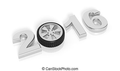 2016 text with car wheel rim, isolated on white.