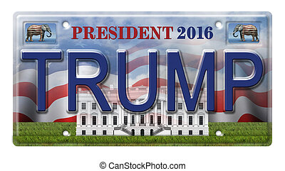 License Plate promoting Donald Trump as a candidate for the presidential election in 2016. Includes a clipping path.