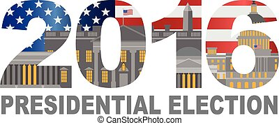 2016 US Presidential Election Outline Illustration