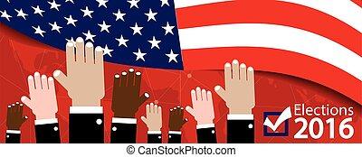 2016, vettore, bandiera, elezioni