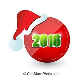 2016, weihnachtshut, zeichen, abbildung