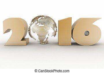 2016, year., 隔離された, 3d, イメージ