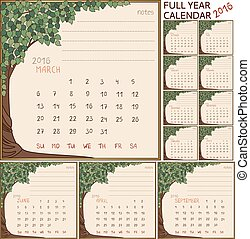 2016 year calendar full all 12 months on one page in frame with art