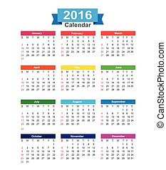 2016 Year calendar isolated on white background vector illustration
