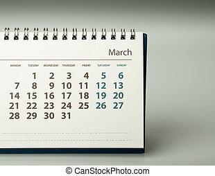 2016 year calendar. March