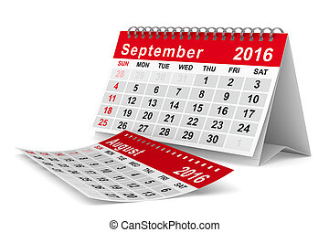 2016 year calendar. September. Isolated 3D image