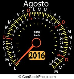 2016 year calendar speedometer car in Spanish, August....