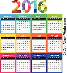 2016 year color calendar template. Flat design template