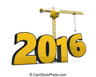 2016 year construction - 3d illustration of crane building...