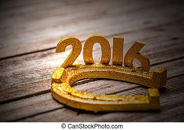 2016 year golden figures with horseshoe