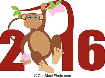 2016 Year of the Monkey on Tree Numerals Illustration - 2016...