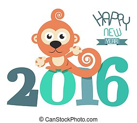 2016 Year with Monkey Retro Vector Flat Design Illustration