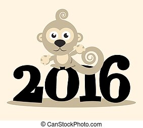 2016 Year with Monkey Vector Flat Design Illustration