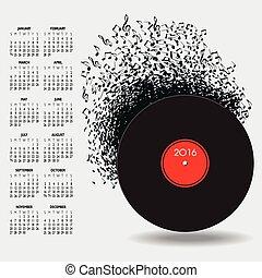 2016, zene, naptár