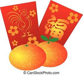 2017, år rooster, rød, packets, illustration
