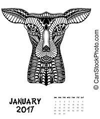 2017, ページ, カレンダー, 月