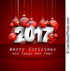 2017, 新年快樂, 背景, 為, 你, 季節性, 飛行物