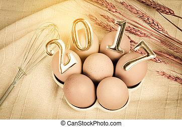 2017, 新年, 数, 上に, eggs.