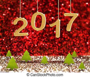 2017, 新年, 数, (3d, レンダリング, text), 掛かること, 上に, 緑, クリスマスツリー, 中に, 赤, そして, 金, きらめき, きらめき, スタジオ, 部屋, 休日, 概念