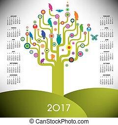 2017, 樹, 日曆, 鮮艷