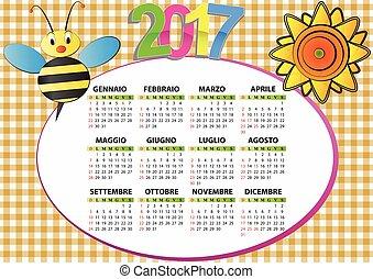 2017, 蜂, そして, ひまわり, イタリア語