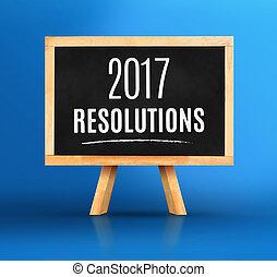 2017, 鮮やか, 黒板, 青, 単語, イーゼル, 新しい, 計画, resolutions, 背景, スタジオ, 年, 年の