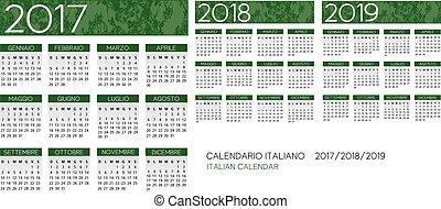 2017-2018-2019, カレンダー, ベクトル, イタリア語