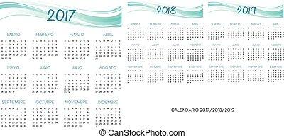 2017-2018-2019, カレンダー, ベクトル, スペイン語