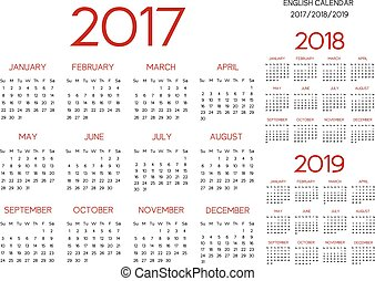 2017-2018-2019, kalender, vektor, röd, engelsk