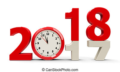 2017-2018 change with clock dial represents coming new year 2018, three-dimensional rendering, 3D illustration