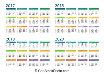 2017, 2019, 2018, vector, sunday., semana, simple, design., calendario, 2020., comienzos