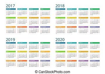 2017, 2019, 2018, vektor, sunday., woche, einfache , design., kalender, 2020., anfänge