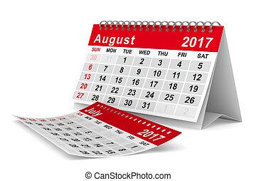 2017, año, calendar., august., aislado, 3d, imagen