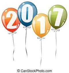 2017, año nuevo, globos