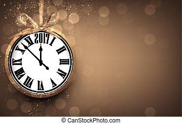 2017, año nuevo, plano de fondo, con, clock.