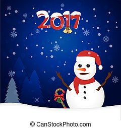 2017 and snowman on blue background, Christmas background