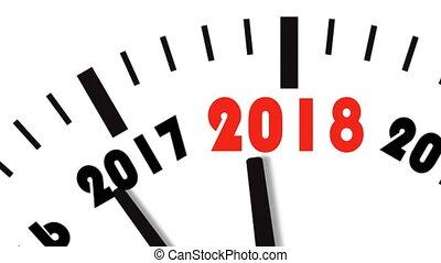 2017, animatie, 2018., ultra, klok, hd, jaar, 4k, aftellen