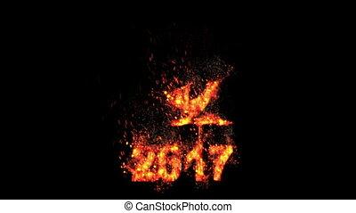 2017, ano novo, -, fogo, galo