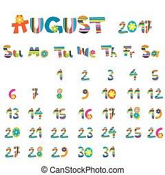 2017, août, calendrier