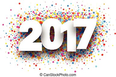 2017 background with drops. - 2017 white sign with colour...