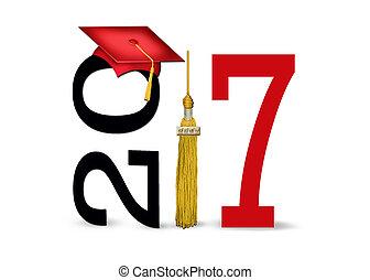2017, berretto, rosso, graduazione