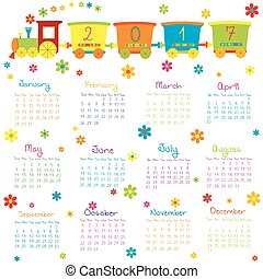 2017, calendário, com, trem brinquedo, e, flores