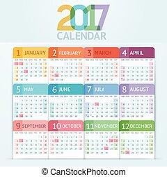 2017 Calendar 1 - Calendar 2017 print template design....