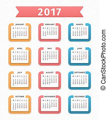 2017 Calendar, week starts on Monday, vector eps10...