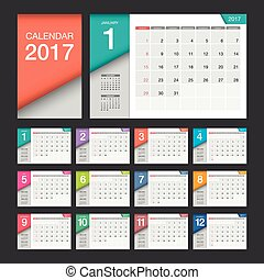 2017 Calendar. Modern design template. Week starts Sunday.