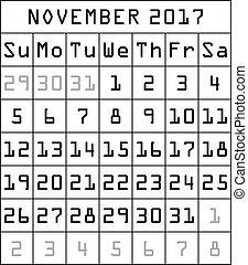 2017 calendar month of november